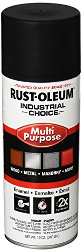 Rust-Oleum 1678830 Semi-Flat Black 1600 System General Purpose Enamel Spray Paint, 16 fl. oz. container, 12 oz. weight fill, Can (Pack of 6)