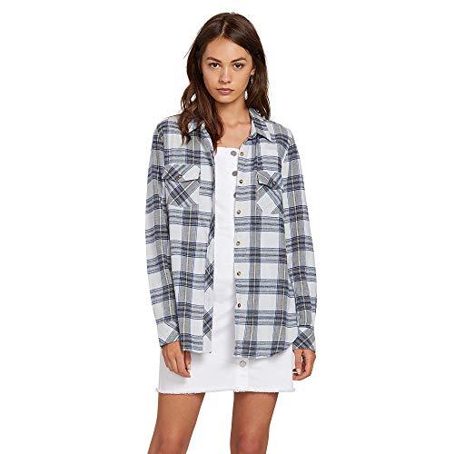 Volcom Junior's Women's Plus Size Getting Rad Long Sleeve Flannel, Smokey Blue, 18