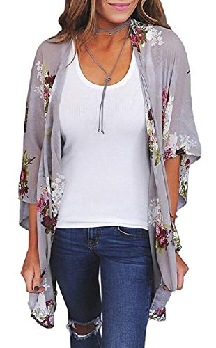 Womens Floral Print Kimono Cover Up Long Cardigan Sheer Loose Chiffon Blouse Tops Grey Small