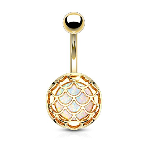 Pierced Owl Mermaid Scale Synthetic Glitter Opal Belly Button Ring in 316L Stainless Steel (Gold Tone)
