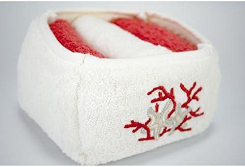 Cesta con 3 toallas bordado estrellas Marine Rojo – Toalla Esponja Pequeño para invitados