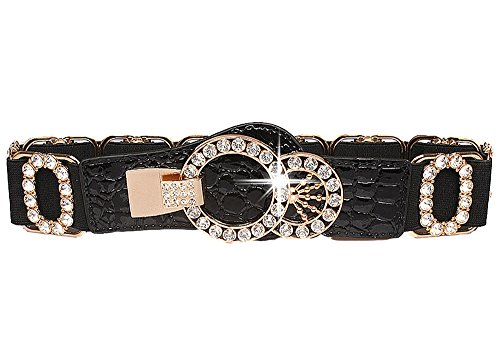 Stretch Belt for Women Luxury with Rhinestone Amiveil Stretch Waist Belts