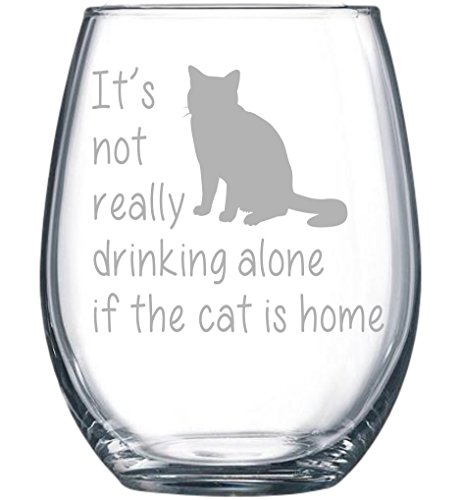 stemless cat wine glass