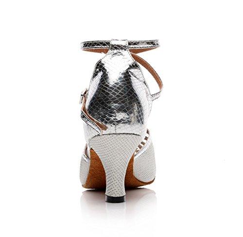 Our36 Silver Modern JSHOE 5cm Para De EU35 Tacones UK4 Latino Zapatos Jazz Altos Sandals Chacha Dance Salsa Tango Mujer Baile Samba heeled7 aAa1wnpqv