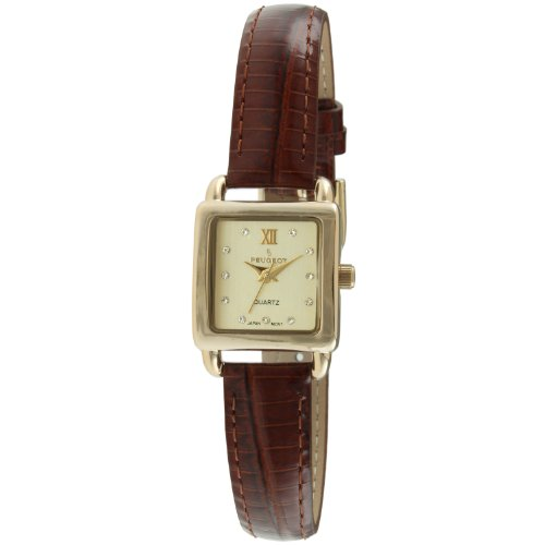 Peugeot Women's Quartz Gold-Tone and Leather Casual Watch, Color:Brown (Model: 3034BR)