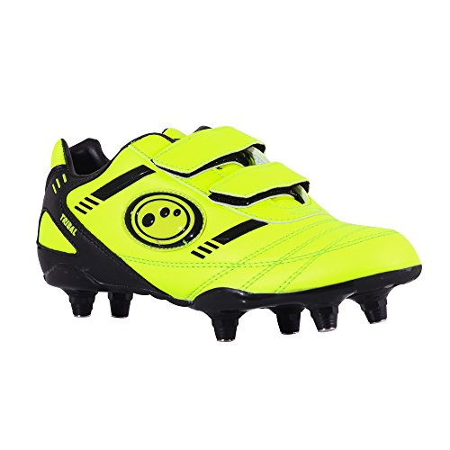 Optimum Tribal Boot-Velcro 6 Stud, Botas de Fútbol para Niños Amarillo - Yellow (Fluro Yellow/Black)