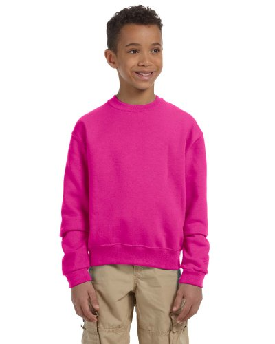 Jerzees Youth 50/50 Crewneck Sweatshirt, PINK, Medium (Sweatshirt 562b Jerzees)