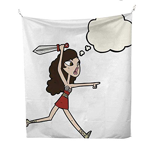 - 25 Home Decor Tapestries for Bedroom Cartoon Viking Girl with Sword with Thought Bubble Wall Tapestries for Bedroom 60W x 80L INCH