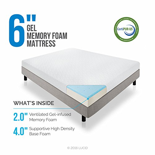 LUCID 6 Inch Gel Infused Memory Foam Mattress - Firm Feel - Perfect for Children - CertiPUR-US Certified - 10 Year warranty - Twin by Lucid® (Image #1)