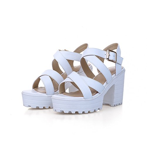 Womens Sandals Buckle Open Heels Toe White Solid Kitten Cow Leather AmoonyFashion Oxg1qdg
