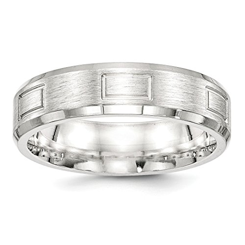 925 Sterling Silver 6mm Brushed Wedding Ring Band Size 8 Fancy Classic Beveled Edge Fine Jewelry For Women Gift Set -