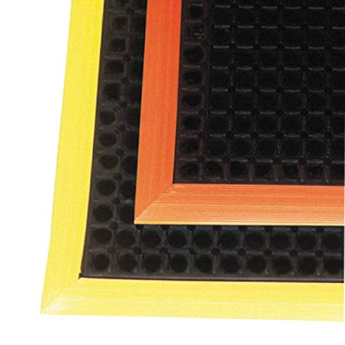"Superior Manufacturing Notrax 26"" X 40"" Black And Orange 7/8"" Thick Rubber Safety Stance Wet/Dry Area Safety/Anti-Fatigue Floor Mat With Beveled Border On 3 Edges, Package Size: 1 Each"