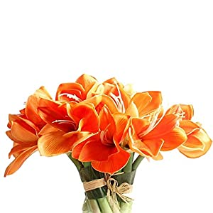 Real Touch PU Artificial Amaryllis Flowers Bunch Bouquet Arrangements for Home Kitchen Living Room Dining Table Wedding Centerpieces Decorations (Orange) 28