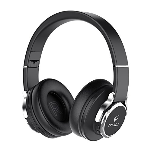 Bluetooth Headphones Over Ear, Crabot Wireless Stereo Foldable Noise Cancelling Phone Headsets with Mic Volume Control/24 Hours Playtime/CSR Bass for iPhone Android Smartphones PC Tablet