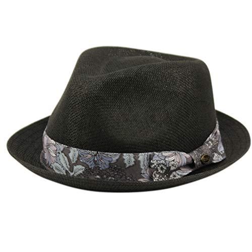 Epoch hats Mens Summer Fedora Cuban Style Upturn Short Brim Hat (S/M, F2806BLACK)