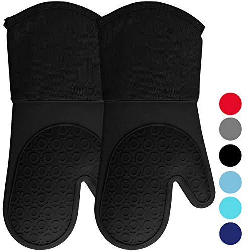 Silicone Oven Mitts with Quilted Cotton Lining - Professional Heat Resistant Potholder Kitchen Gloves - 1 Pair (Black) - Homwe (Potholder Mitts)
