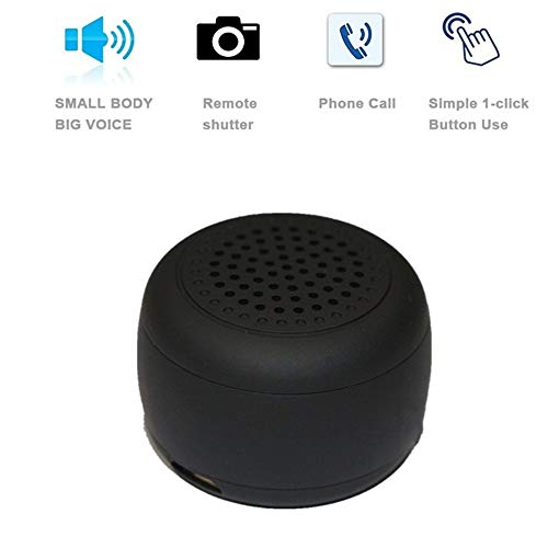 Smallest Mini Wireless Bluetooth Speaker -Photo Selfie Button Answer Phone Calls-30+ Feet Range (Black)