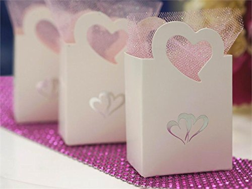 BalsaCircle 25 Silver Double Hearts on White Wedding Favor Boxes for Wedding Party Birthday Candy Gifts Decorations Supplies