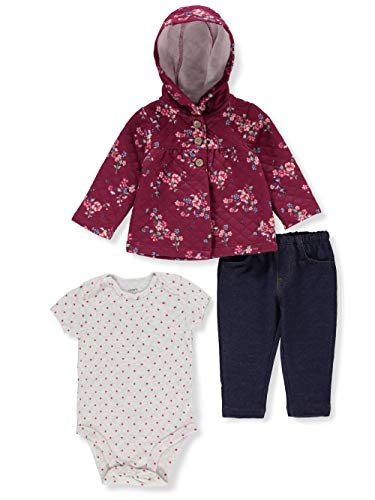 Carter's Baby Girls 3-Piece Cardigan Set (24 Months, Burgundy)