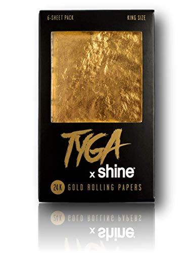 Shine Tyga 24K Gold King Size Rolling Papers 6 Sheet Pack ()