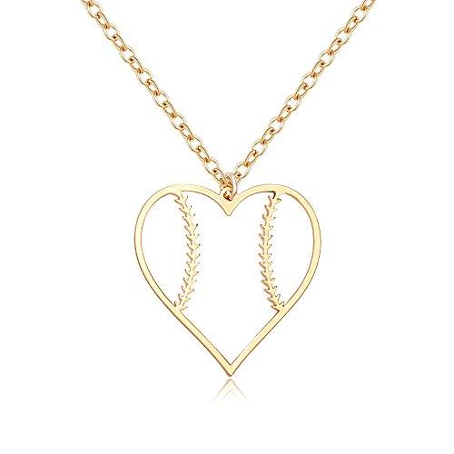 SENFAI Stainless Steel Basketball Football Heart Necklace for Girls(Softball Gold)