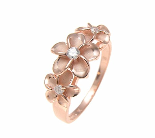 Pink rose gold plated sterling silver 925 Hawaiian 3 cz plumeria flower ring size 4
