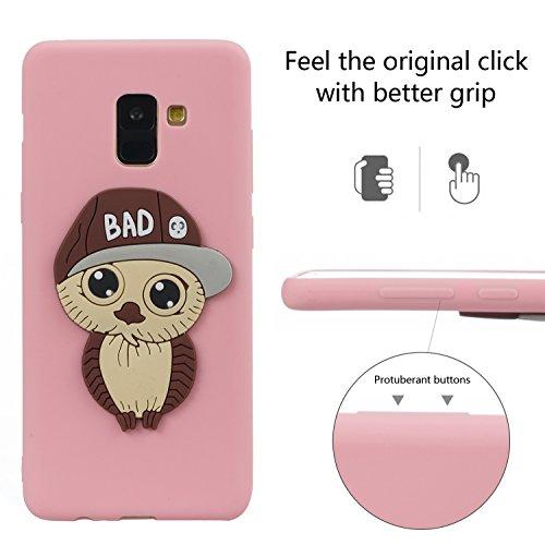 Back Galaxy Silicone A8 Bumper 3d Flexible Free Protective Creative Cute 2018 Pink Plus Cover Gel Tpu idatog Owl Shockproof Cartoon Hd Case Screen Anti Design Soft Skin Protector scratch ZqBpZxrw