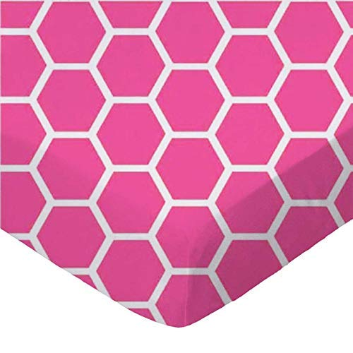 SheetWorld Fitted Pack N Play Sheet Fits Graco 27 x 39 - Hot Pink Honeycomb - Made In USA [並行輸入品]   B077YTQ67F