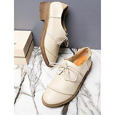 Cómodo y elegante soporte de zapatos de las mujeres pisos de primavera/verano/otoño/invierno comodidad Casual sintética soporte de tacón Split Joint/cordones Almond