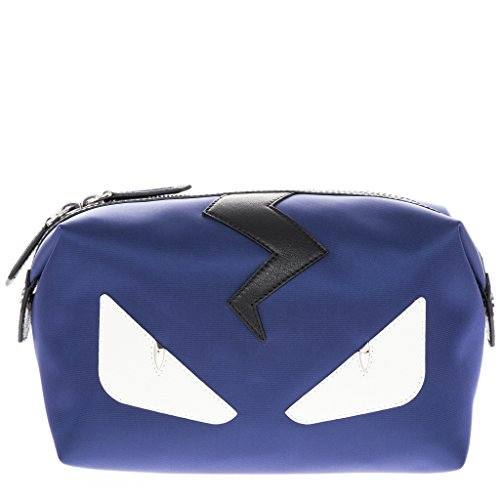 Fendi Men's 'Bags Bugs Eye' Top-Zip Leather Trim Nylon Beauty Case Navy Black