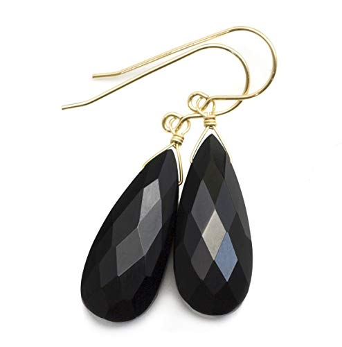14k Yellow Gold Filled Black Onyx Earrings Faceted Long Simple Dangle Teardrops Sparkle Briolettes