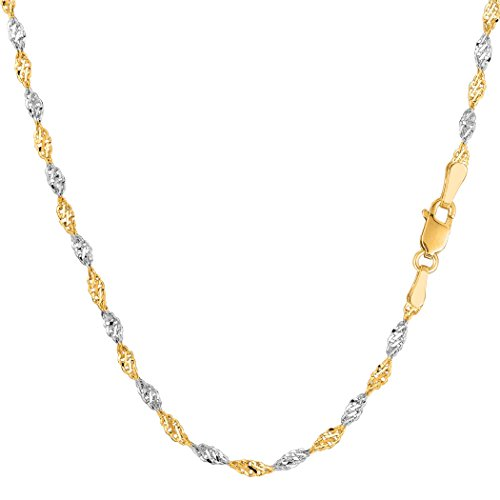 14k 2 Tone Yellow And White Gold Singapore Chain Necklace, 2.0mm, 20
