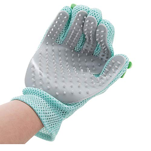 Dog Cat Hair Remover Glove,Gentle Pet Grooming Glove Brush - Deshedding Glove - Massage Mitt with Enhanced Five Finger Design - Perfect for Dogs, Cats with Long, Short Fur ,Cartoon (GREEN(Right Hand))
