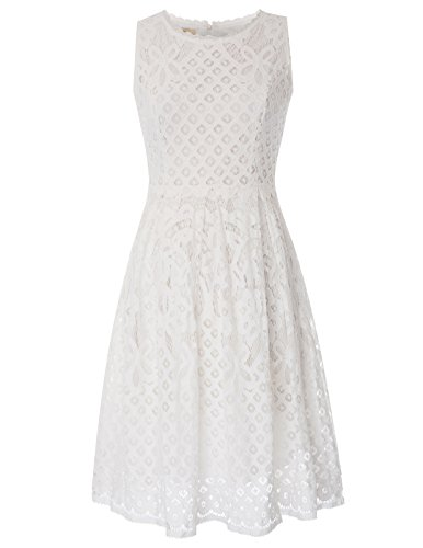 GRACE KARIN Women Fit and Flare Cocktail Formal Swing Dress Size 2XL White by GRACE KARIN