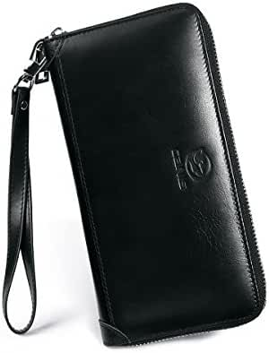 Wallets for Men, PESTORY Handmade Cowhide Genuine Leather Wallet Bifold Extra Capacity