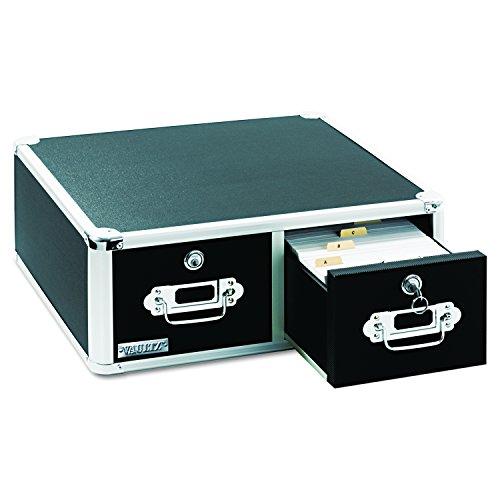 Vaultz Locking 5 x 8 Index Card Cabinet, Double Drawer, Black - File Card Drawer 8