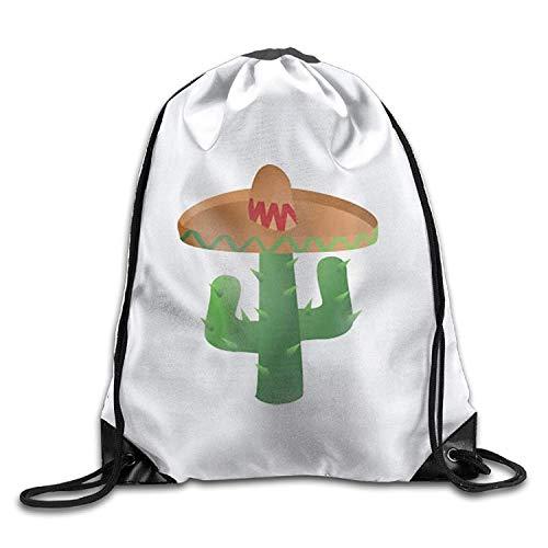 Beatybag 3D Print Drawstring Bags Bulk, Cactus Wearing Sombrero Halloween Unisex Gym Drawstring Shoulder Bag Backpack String -