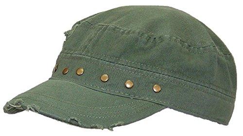 Tropic Hats Women's Cadet Hat Frayed W/Rivet Studs, Adjustable (One Size) - Olive