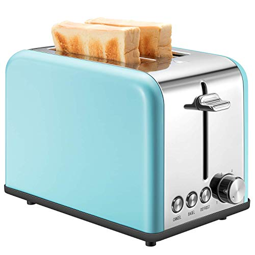Toaster 2 Slice, Retro Small Toaster with Bagel, Cancel, Defrost Function, Extra Wide Slot Compact Stainless Steel Toasters for Bread Waffles, ()