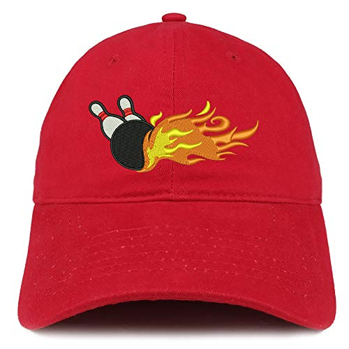 Trendy Apparel Shop Flaming Bowling Embroidered Unstructured Cotton Dad Hat - Red