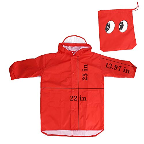 SSAWcasa Rain Poncho for Kids with Hood,Children Dinosaur Raincoat,Portable Reusable Toddler Rainwear with Storage Pouch,Lightweight Waterproof Rain Coat,Jacket for Baby Boys and Girls (L, Red) by SSAWcasa (Image #2)