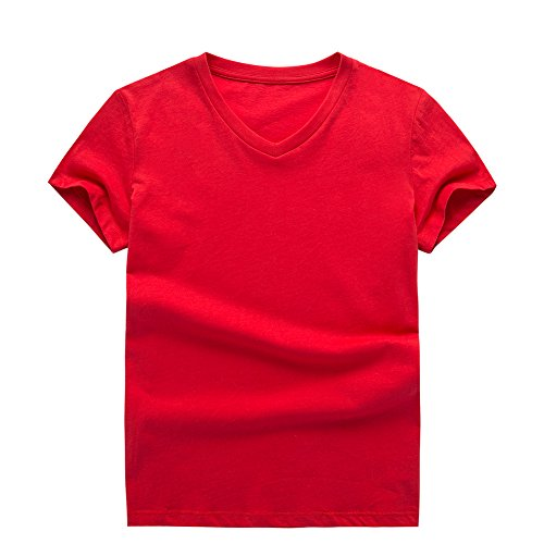 UNACOO 2 Packs 100% Cotton Short-Sleeve V-Neck T-Shirt for Boys and Girls(red+Hemp Blue, m(7-8T)) by UNACOO (Image #3)