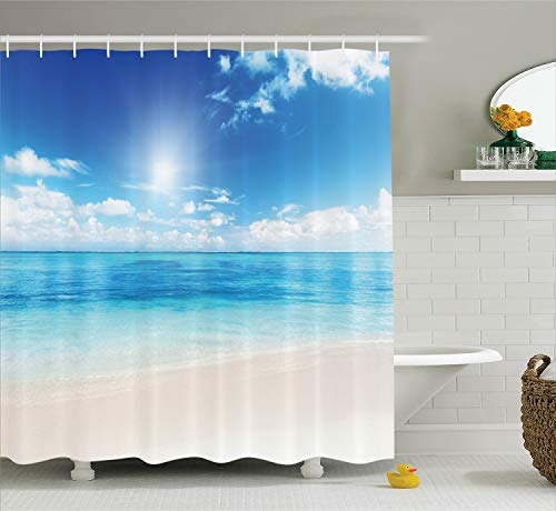 Ambesonne Ocean Shower Curtain, Beach View from Caribbean Sea in a Sunny Day Exotic Summer Season Print, Cloth Fabric Bathroom Decor Set with Hooks, 70