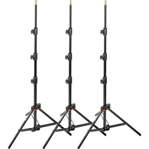 Manfrotto 1051BAC-3 6-Feet 9-Inches Alu Mini Compact Stand AC with 4 Section and 3 Risers, 3-Pack (Black)