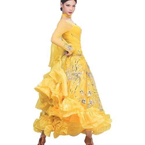 Competizione Moderno Yellow Donna Con Ricamato Wqwlf Da Dancewear Tulle performance Vestiti Per Lussuoso Sala M xl Paillettes Grande Valzer Balli Swing gOHWnx