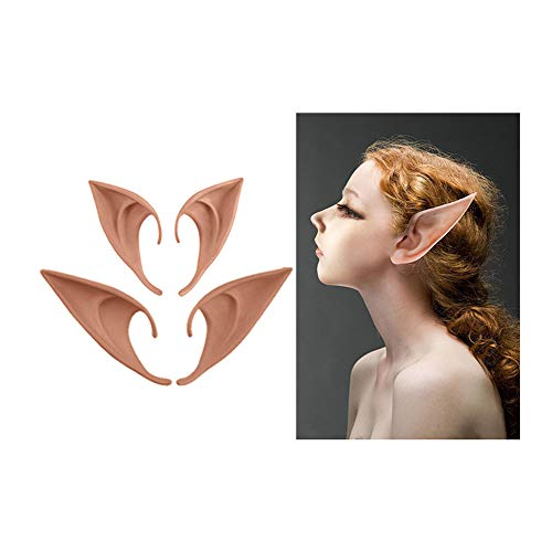 XinS 2 Pairs Elf Ears Soft Pointed Prosthetic Ears for Cosplay Costumes Halloween Party Accessories