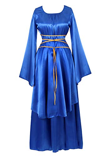 Womens Deluxe Medieval Victorian Costume Renaissance Long Dress Costumes Irish Over Cosplay Retro Gown Bright Blue-2XL