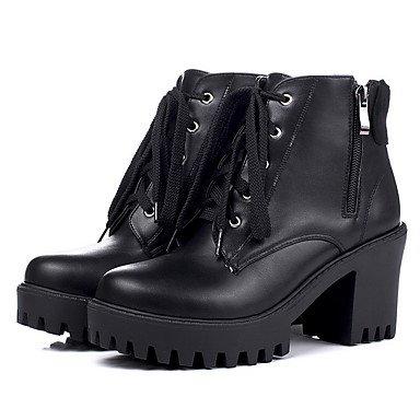 ZJJ Tacco alto solido donna chiuso punta tonda cerniera stivali , us5.5 / eu36 / uk3.5 / cn35