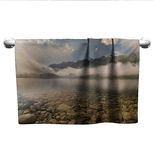 LilyDecorH Nature,Shower Towel Alpine Lake with Stones Rocks in Crystal Water with Misty Fogy Clouds Image Quick Dry Towel Grey and White W 20