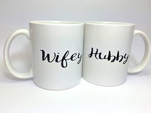 A125 A126 Wifey Hubby, Two Mugs Set, Coffee Mug, Funny Mug, 11oz White Ceramic Mug, Best Gift, Birthday Gift, Special Present, Best Mug For Hot Cold Coffee Tea Water Juice Drink